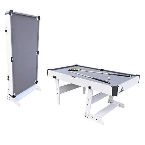 Cougar Hustle XL Billardtisch 6ft in Weiß / Grau | Pooltisch klappbar inkl. Zubehör | Tischbillard für Kinder und Erwachsene | Indoor Pool / Billard Tisch