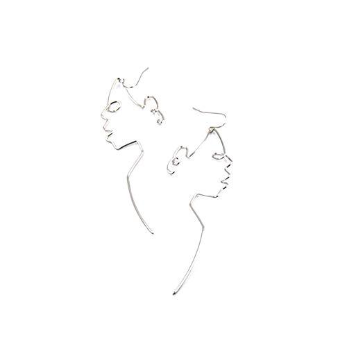 Ogquaton Weißes Gesicht baumeln Draht Ohrringe Mädchen Artsy Gliederung Lange Ohrringe für Frauen kostengünstig