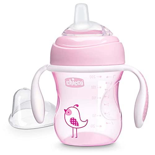 Chicco Transition Cup Bicchiere Antigoccia per Bambini 200ml, 1 Tazza Biberon 4+ Mesi per Imparare a Bere, con Beccuccio Ergonomico in Silicone, Doppia Valvola Anticolica, senza BPA - Rosa