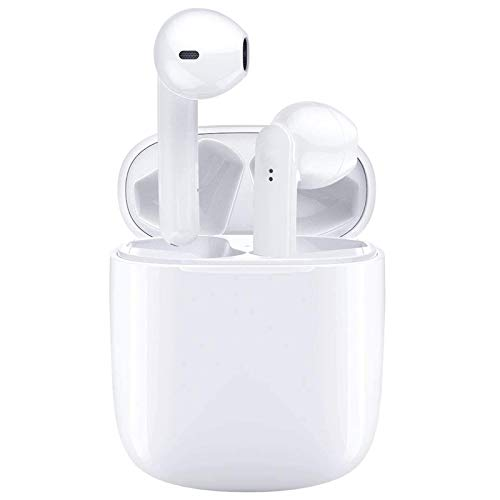 Wireless Earbuds Air Podswireless Bluetooth Headphones Noise Cancelling Mini Fast Charging Case IPX5 Waterproof Earbuds 3D Stereo Earpods for iPhone/Android/Samsung Sports in-Ear Headphones (White)