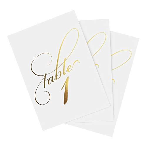 Bliss Collections Gold Foil Wedding Table Numbers, Double Sided 4x6 Calligraphy Design, Numbers 1-40 and Head Table Card Included