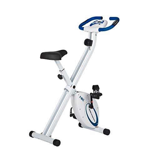 Ultrasport F-Bike, Fahrradtrainer, Heimtrainer, faltbares Fitnessfahrrad mit Trainingscomputer und Handpulssensoren, klappbar, belastbar bis 100 kg, Navy