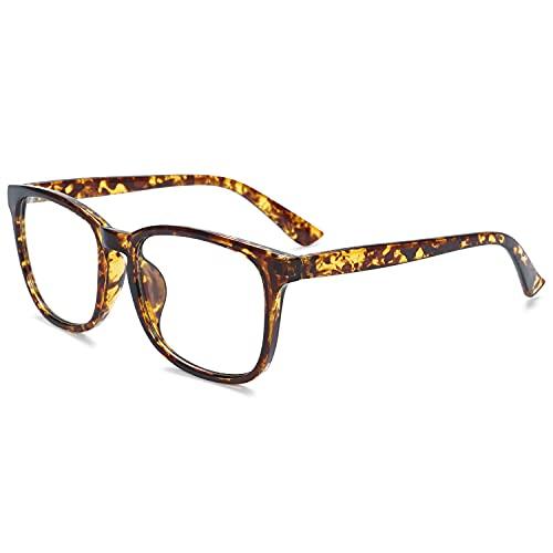 KOOSUFA Gafas con filtro de luz azul para ordenador, para hombre y mujer, estilo retro, montura sin intensidad, para juegos, sin visión, antifatiga, con funda de gafas