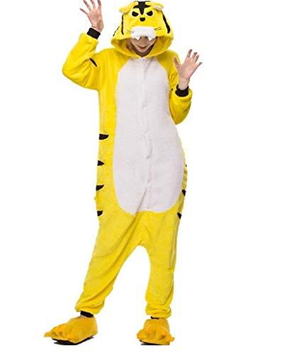 Ducomi Kigurumi Pyjamas Lustige Kostüme - Unisex Pyjamas Adult Cosplay Tier Kostüm - Plüsch Halloween und Karneval Frau Mann - Pyjama Anzug Einhorn, Koala, Panda (Tiger, M)