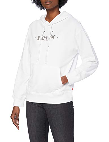 Levi's Graphic Standard Hooded Sweatshirt, New Logo with Stars_Hoodie White+, M para Mujer