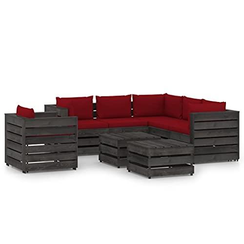 vidaXL Madera Impregnada Muebles de Jardín 8 Piezas con Cojines Mobiliario Exterior Terraza Balcón Hogar Cocina Mesa Silla Asiento Gris