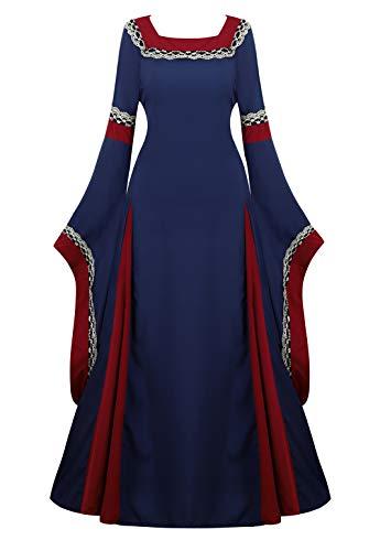 Womens Irish Medieval Dress Renaissance Costume Retro Gown Cosplay Costumes Fancy Long Dress Navy-S