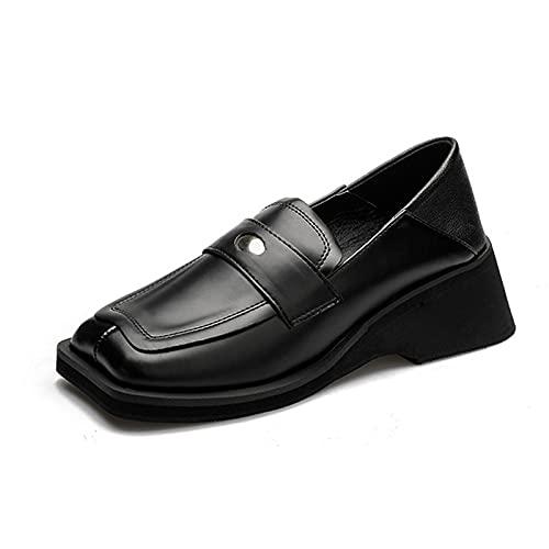 Plataforma Loafers para Mujer Casual Mocasines Casual Derby Zapatos de Conducción,Negro,40 EU