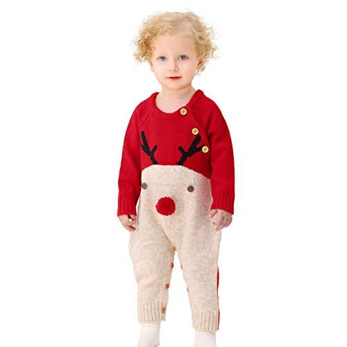 HUAGE Unisex Baby Kersttrui Baby Winter Eendelige Trui Baby Trui Romper Kerst Elanden Jumpsuits Gebreide Rendier Bodysuit Met Knopschakelaar Geschikt Voor 0-24 Maanden Baby Jongens