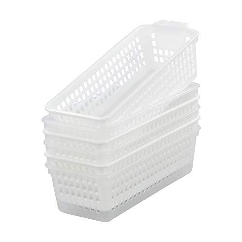 Parlynies Juego de 6 cestas de almacenamiento de plástico delgadas para escritorio