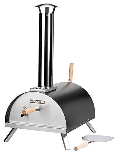 NEUSTEIN Outdoor Pizzaofen XQ3000 mit Pizzastein, Pizzaschieber, Abdeckung, Holzofen, Mobiler Backofen, für Garten, Outdoor & Camping, Pellets, Kohle und Briketts geeignet