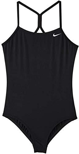 Nike Swim Girls' Big Racerback One Piece Swimsuit, Black 1, S