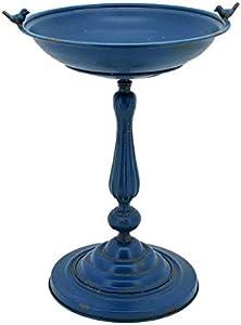 Zaer Ltd. Ornate Metal Pedestal Style Birdbath with Cast Iron Birds on Rim Full Base (Blue)