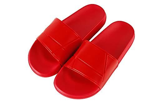 Hangrui Damen-Slipper, unisex, für Damen, Herren, mit offenem Zehenbereich, bequem, leicht, coole Hausschuhe, Rot (rot), 39 EU