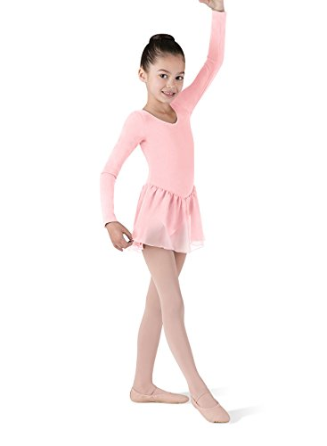 Ballettanzug, ROSA, langarm mit schönem Voile-Röckchen,6-7 jahre
