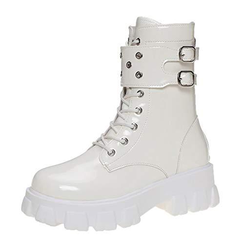 WggWy Botas de motociclismo plataforma botas de nieve Snow-Snow botas de mujer de piel cálida de piel redonda completa plataforma impermeable botas de tobillo de cordones blanco 37