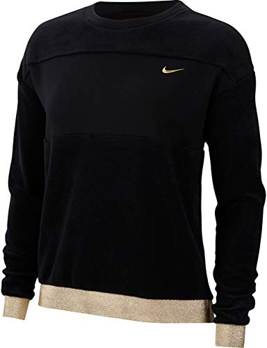 Nike Damen Pro Icon Clash Them Fleece Crew Sweatshirt T-Shirt, Schwarz (Black/Metallic Gold), (Herstellergröße: X-Large)