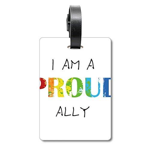 LGBT - Etiqueta para maleta con bandera de arcoíris orgullosa, para colgar