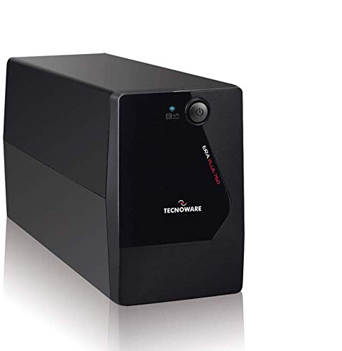 Tecnoware Sistema de alimentación ininterrumpida SAI Era Plus 750 con 2 Salidas Schuko, Potencia de 750 VA, Autonomía de Hasta 40 Minutos con Módem Router WiFi o 10 Minutos con PC, Estabilización AVR