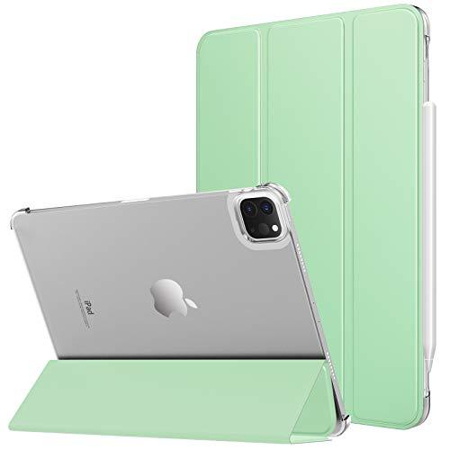 MoKo Funda Compatible con iPad Pro 11 2021 Tableta, Inteligente Trasera Transparente Ultra Delgado Función de Soporte Protectora Plegable Cubierta, Verde