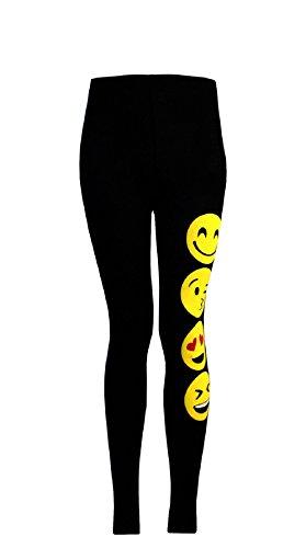 GIRLS T-SHIRTS AND LEGGINGS EMOJI EMOTICONS SMILEY FACES SHORT SLEEVE TOPS 7-13, Black (Leggings), 11-12 years