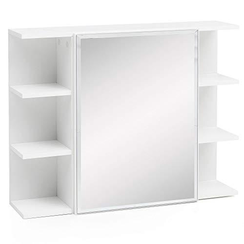 FineBuy Hängeschrank FB51815 Weiß 80x64,5x20cm Spanplatte Spiegelschrank Modern | Design Badregal Holz Freischwebend | Schränkchen Badezimmerschrank mit Spiegel | Hängeschrank Badspiegel