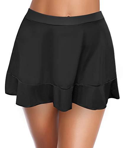 SHEKINI Jupe de Bain Femme Bas de Jupe de Bain Bikini Jupette Volants avec Intégré Triangle Bas de Bikini Jupe de Sport de Short de Bain Élégant Bikini de Plage (S, Noir)