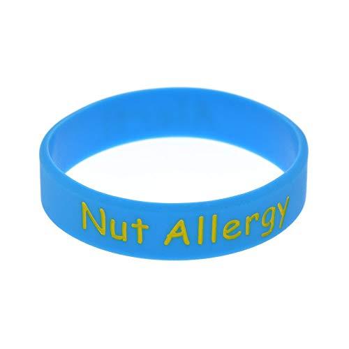 ZWH Pulsera Nut Alergia Brazaletes De Alerta Anillo Pulsera De Silicona De Mano De Tamaño Infantil Proceso De Coloración Grabado (Color : Sky Blue)