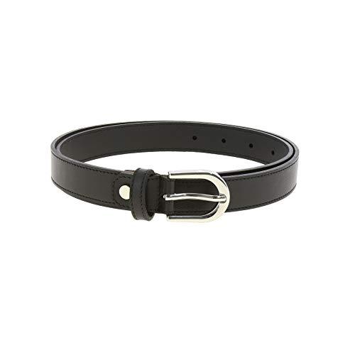 FASHIONGEN - Cintura donna in Vera Pelle di vacchetta Pieno Fiore, Cintura donna per jeans, Vestito, Pantaloni, LUNA - Nero, 95 cm / pantaloni da 45 a 46