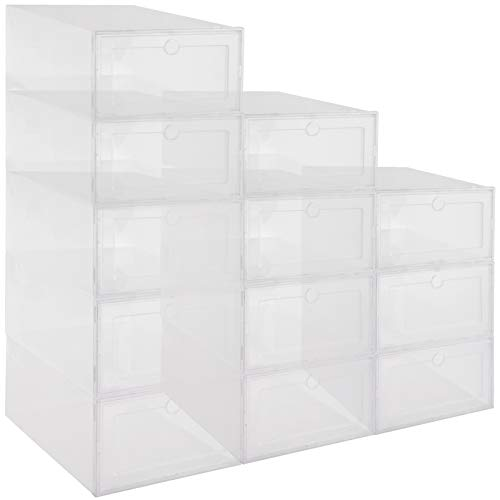 12 Pack Oversized Stackable Shoe Storage Boxes Set- Foldable Plastic Shoe Organizer Cases with Clear Front Panel Clear Sneaker Display Chest Container for Closets Entryway Kids Men Women Shoes Storage