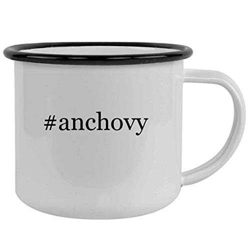 #anchovy - Sturdy 12oz Hashtag Stainless Steel Camping Mug, Black