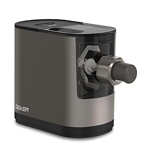 GEKER Máquina automática para Hacer Pasta eléctrica,mezcla, amasa y extruye en 12 minutos,formas de fideos de 6 moldes de pasta intercambiables con operación automática de una tecla