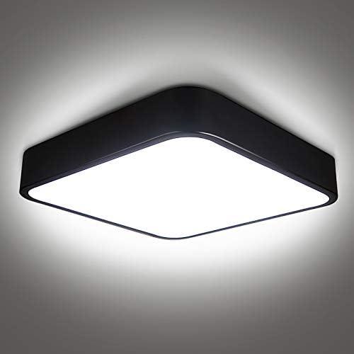 bedee 24W LED Ceiling Light Flush Mount 12 inch Light Fixture Black Modern Square Ceiling Lamp product image