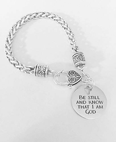 Christian Charm Bracelet Be Still and Know That I Am God Bible Faith Jewelry CY-2225
