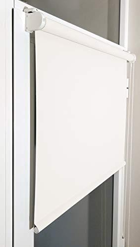Estor Enrollable Opaco Premium a Medida. Estor SIN TALADRAR Opaco. Permite Paso de luz, no Permite Ver el Exterior/Interior. Color Blanco Opaco. Medida: 60cm x 180cm