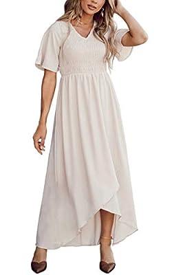 Zattcas Casual Dresses for Women Bridesmaid Dresses Long Dress for Women Cream X-Large