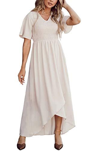 Zattcas Womens Short Sleeve Casual Summer Maxi Dress Bridesmaid Dress Cream Small