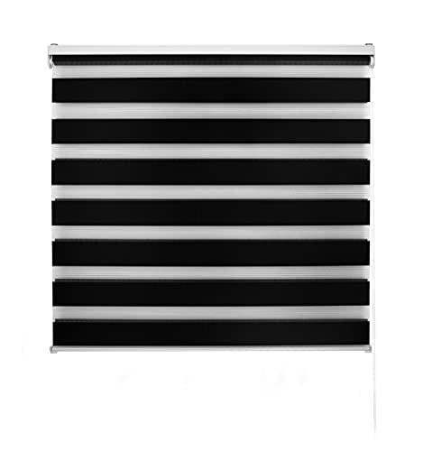 Blindecor LIRA - Estor enrollable de doble capa Noche y Día, Negro, 160 x 250 cm, ancho x largo