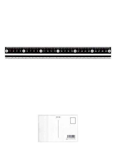 レイメイ藤井 白黒定規 30cm ブラック APJ281B (5パック) + 画材屋ドットコム ポストカードA