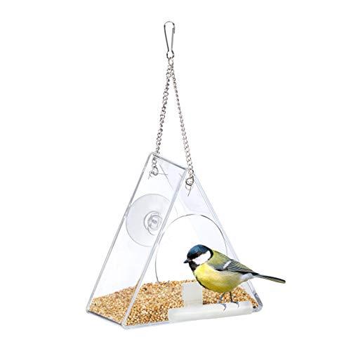 Relaxdays Vogelfutterhaus, Vogelfutterspender aus Acryl, zum Aufhängen, für Fenster, HBT 13 x 12,5 x 7,5 cm, transparent