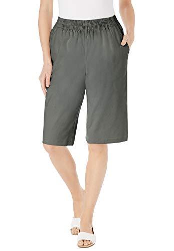 Woman Within Women's Plus Size Elastic-Waist Chino Bermuda Short - 22 W, Olive Grey Green