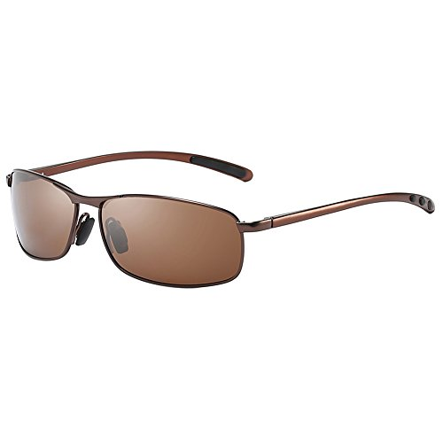 ZHILE Rectangular Polarized Sunglasses Al-Mg Alloy Temple Spring Hinge UV400 63mm (Brown, Amber)