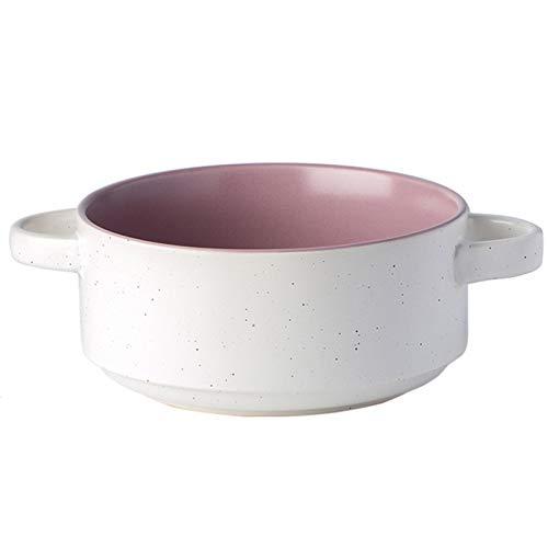 Hogar Cerámica Souffle Platos, Handle Doble-Ramekins-Hornkins, Crema Brulee, Souffle (Color : Purple, Size : 8.85 * 6.49 * 2.95inch)