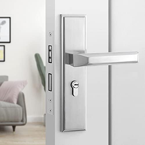 Manija de la Puerta Mango de puerta de aluminio de espacio negro, cerradura de puerta interior / de dormitorio, cerradura de puerta de baño, cerradura de puerta silenciosa dividida, hardware de puerta