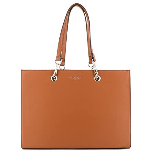 Borsa a mano da donna, con catena in finta pelle goffrata, borsa rigida formato A4, grande borsa a tracolla per scuola, lavoro, elegante e alla moda.