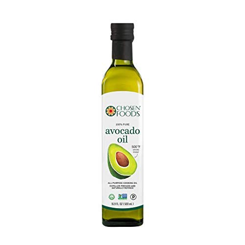 Chosen Foods 100% Pure Avocado Oil 16.9 oz. (2 Pack), Non-GMO for High-Heat Cooking, Frying, Baking, Homemade Sauces, Dressings and Marinades