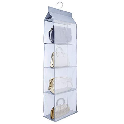 MaoXinTek Handtaschen Aufbewahrung Faltbar Taschenorganizer Hängende mit 4 Fach Organizer für Taschen für Wohnzimmer Schlafzimmer Kleiderschrank