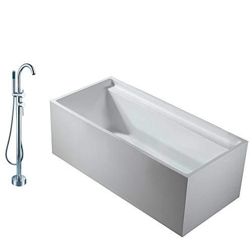 Rechthoekig vrijstaand bad VERONA in sanitair acryl wit - 170 x 80 x 60 cm - kranen optioneel, Mixer mengkraan:Incl. Keukenmixer 8028, Sifon voor vrijstaand bad:Zonder Sifon