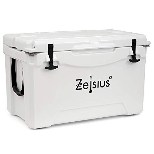 Zelsius Kühlbox 50 Liter | Coolbox | Tragbare Cooling Box ideal für Auto Camping Urlaub Angeln Freizeit Outdoor | Thermobox für Warm und Kalt (weiß)