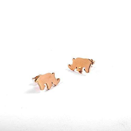 Empty Gold Rhino Ohrstecker in Edelstahl Kinder Ohrringe Zehenschmuck Geschenk Mädchen Rose Gold Tier Ohrringe Geburtstagsgeschenk